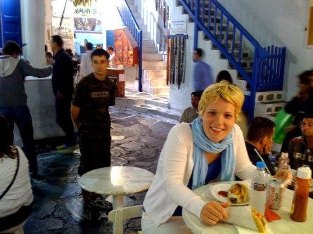 Mykonos, Greece. 4 a.m. gyro. Total happiness.