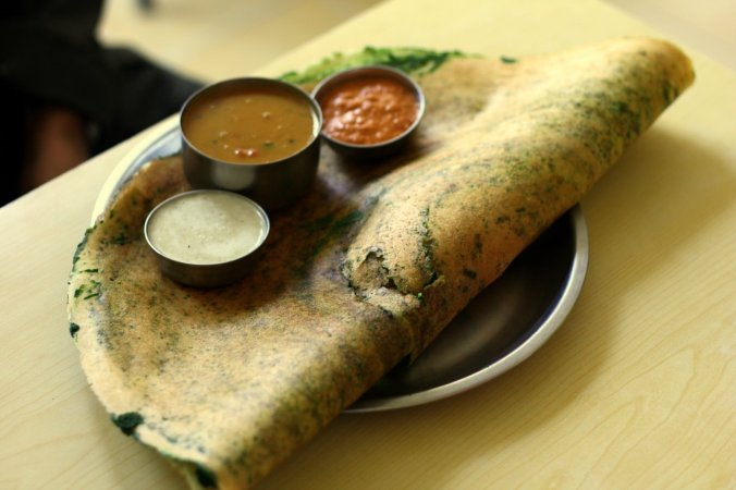 The first dosa (spinach) I ever had in India. I still dream of this.