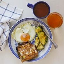 Egg, avocado, waffle toast.