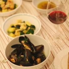 Mussels & veggies.