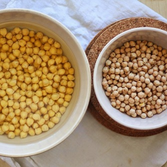 Right: chickpeas before soaking. Left: after soaking.