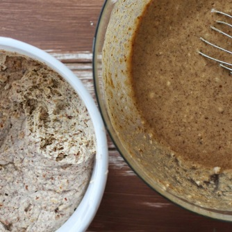 Soaked flour (left) being mixed into wet ingredients.
