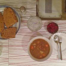 Lamb stew, bread, sauerkraut.