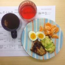 Toast, egg, fruit, tea, kombucha.